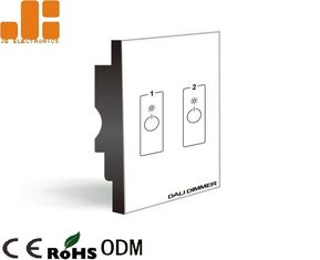 Double Channels Output LED Dimmer Switch With 86*86 Type Glass Panel IP40